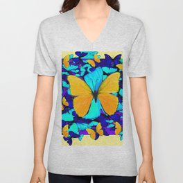 Blue & Yellow Butterfly  Potpourri Unisex V-Neck