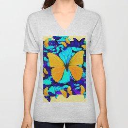 Blue & Yellow Butterfly  Potpourri Unisex V-Neck