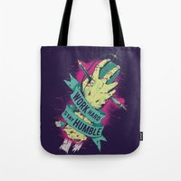 work hard Tote Bags featuring Work Hard by Akiwa
