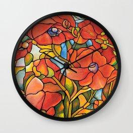 Red Poppy Lamp Wall Clock
