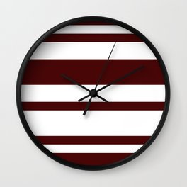 Mixed Horizontal Stripes - White and Bulgarian Rose Red Wall Clock