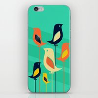 mid century iPhone & iPod Skins featuring Mid Century Birds by Sam Osborne