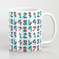 number Mugs featuring Number by Steven Toang