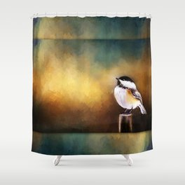 Chickadee in Morning Prayer Shower Curtain