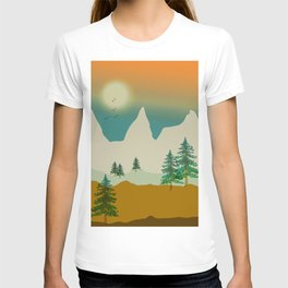 Mountain landscape in green T-shirt
