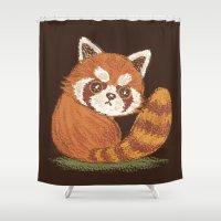 red panda Shower Curtains featuring Panda by Toru Sanogawa
