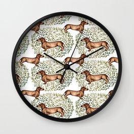Dachshund Sausage Dog Print Botanical Wall Clock