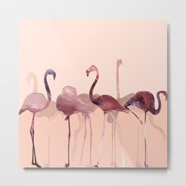 Summer Flamingos Metal Print