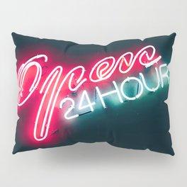 NEON OPEN 24 HOURS Pillow Sham