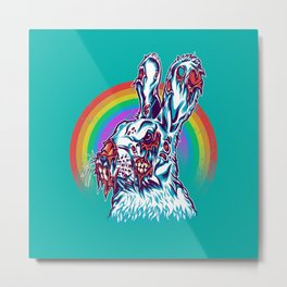 Zombie Rabbit Metal Print