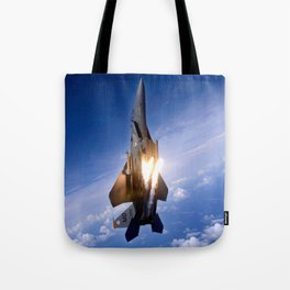 f-15 jet launching missile Tote Bag