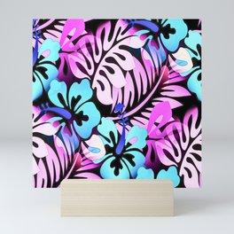 Hawaiian Flowered Shirt Print Pink Blue Mini Art Print