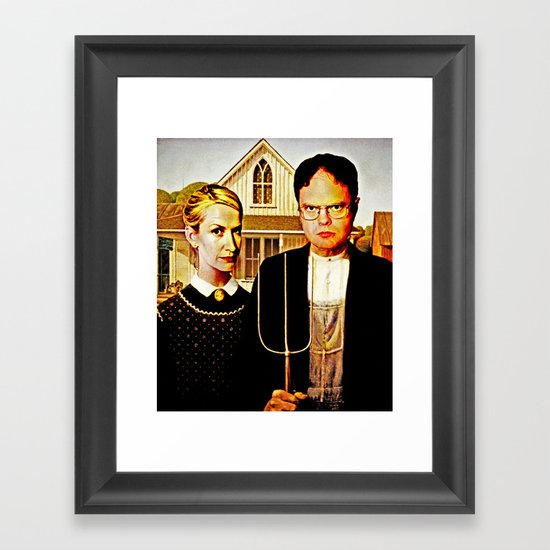 Dwight Schrute & Angela Martin (The Office: American Gothic) Framed Art Print