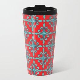 Fleur de Lis - Red & Turquoise Travel Mug