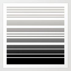 Bay Ombre Stripe: Gray Black Art Print