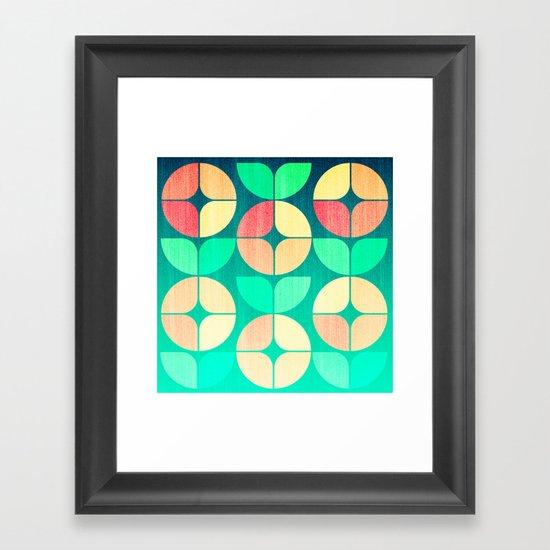 Cherry Denim Pattern Framed Art Print