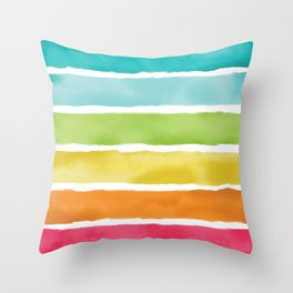 Watercolor Rainbow Stripes Throw Pillow
