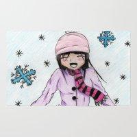 manga Area & Throw Rugs featuring MANGA GIRL SNOW by LUCI-ART