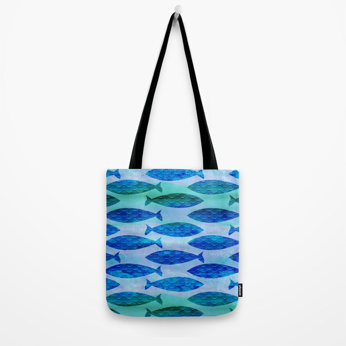 Blue Turquoise Green Watercolor Fish Pattern Tote Bag