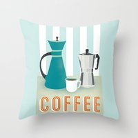 coffee Throw Pillows featuring Coffee by Jenny Tiffany