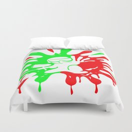 Green and red Paintball Splatter and Mascot Duvet Cover