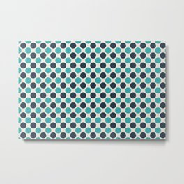Dark Navy Blue and Aqua Teal Turquoise Solid Color Uniform Large Polka Dot Pattern on Alabaster White - Aquarium SW 6767 Metal Print