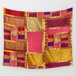 """Exotic fabric, ethnic and bohemian style, patches"" Wall Tapestry"