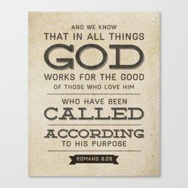 Romans 8:28 Bible Verse Canvas Print