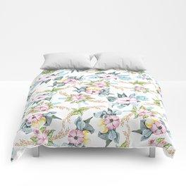 Modern blush pink teal watercolor flowers Comforters