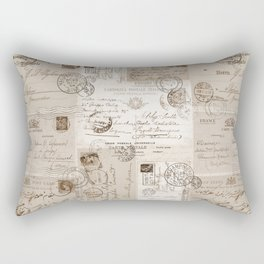 Old Letters Vintage Collage Rectangular Pillow