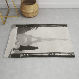 1920 Woman at the Gate, Eiffel Tower black and white photography / jazz age black & white photograph Rug