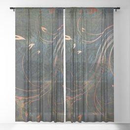 Autumn Gold Whirlwind Flames on Indigo Sheer Curtain