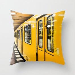 Berlin tube I U-Bahn I Vintage I Yellow colors I Fine art I Photography Throw Pillow