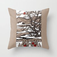 cherry Throw Pillows featuring Cherry by Iris V.