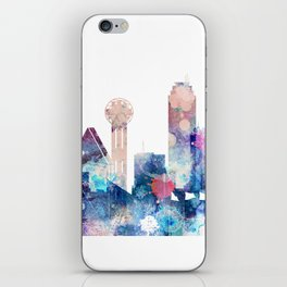 Blue Watercolor Dallas skyline design iPhone Skin