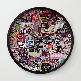 Colorful Sticker Vintage Abstract Pattern Wall Clock