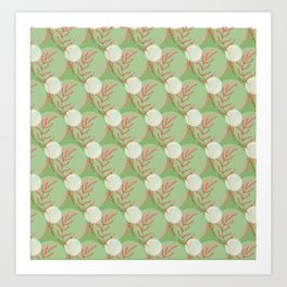 Floral Pattern   Living Coral on Subtle Green Art Print