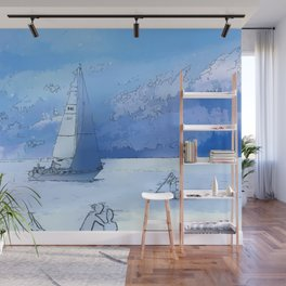 Sailing the Calm Blue Waters  - Sailboating Wall Mural