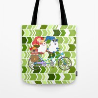 coraline Tote Bags featuring Ernest and Coraline | Tandem biking by Hisame Artwork