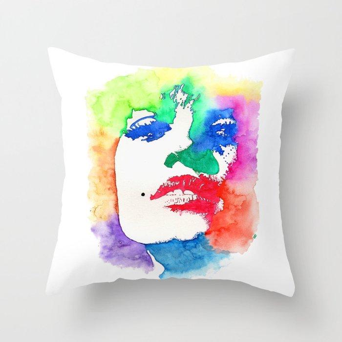 Stencil Watercolor Portrait | Stencil Portrait Watercolor Art Throw Pillow