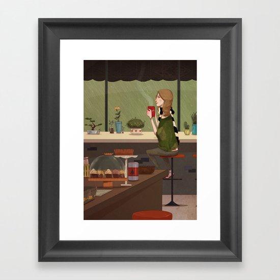 Coffee + Rain Framed Art Print