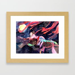 Watercolor Chinese Beauty in the moonlight Framed Art Print