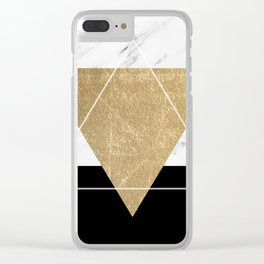 Golden marble deco geometric Clear iPhone Case