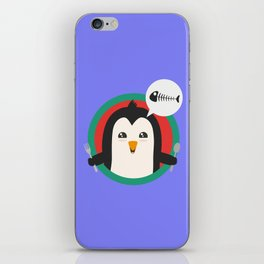 Penguin with cutlery and fish iPhone Skin