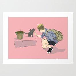 Cat & Me Art Print