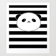 Cute, stripy Panda Face Art Print