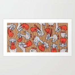 Angry Ducks (colour) Art Print