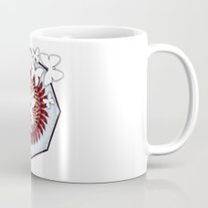 White butterflies on mandala Mug