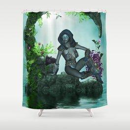 The dark fairy with cute little kitten Shower Curtain