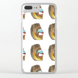 mean baboon pattern Clear iPhone Case